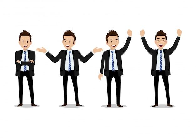 ビジネスマンの漫画のキャラクター、4ポーズのセット。オフィススタイルのスマートスーツでハンサムな男