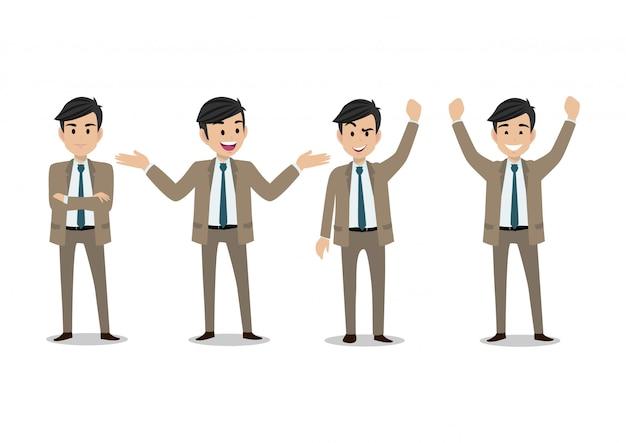 ビジネスマンの漫画のキャラクター、4つのポーズの設定