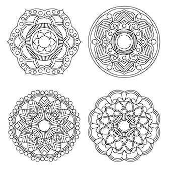 Мандала раскраска цветочного и цветочного мандалы круглого орнамента 4 стиля.