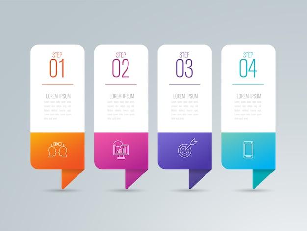 4 этапа бизнес-инфографические элементы для презентации