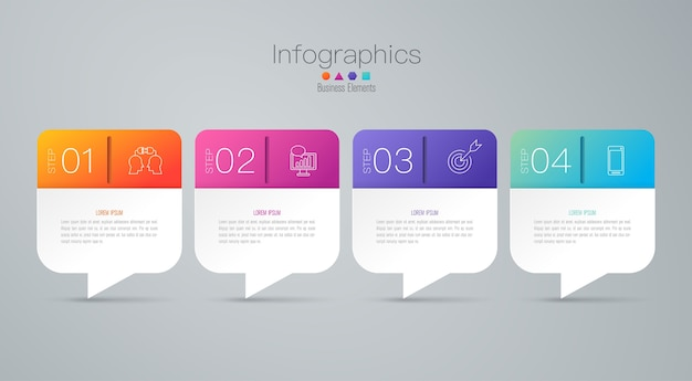 プレゼンテーションのための4つのステップビジネスインフォグラフィック要素