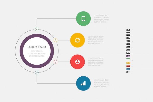 Инфографика бизнес-процесс с 4 шагами или вариантами кругов. визуализация данных.