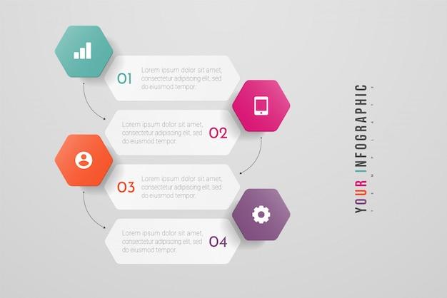 インフォグラフィックデザインと4つのオプション、ステップまたはプロセスのマーケティングアイコン。