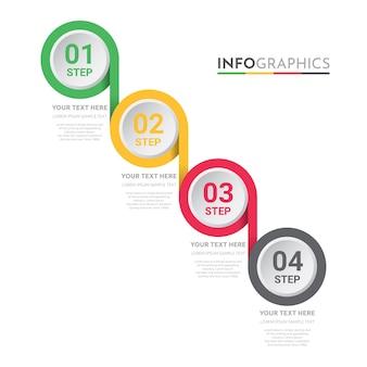 4ステップデザインのビジネス情報グラフィックテンプレート。