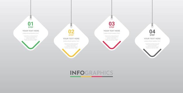 4ステップデザインのビジネスのためのインフォグラフィックテンプレート。