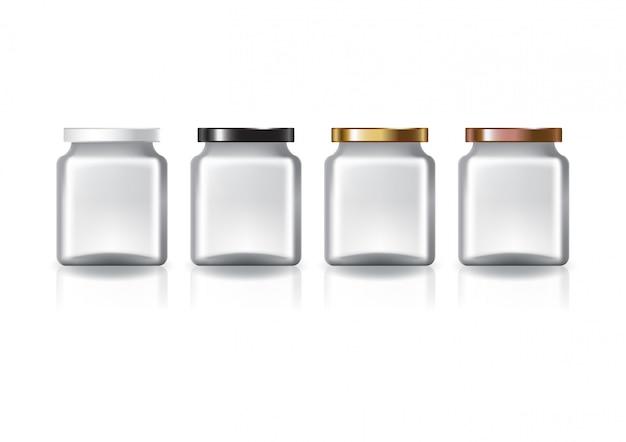 4色の平らなふたが付いている空白の明確な正方形の瓶。