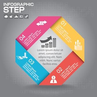 インフォグラフィックテンプレート。 4つのオプション、部品、ステップ、またはプロセスのビジネスコンセプト。