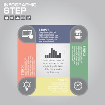 4つのステップのインフォグラフィックデザイン要素