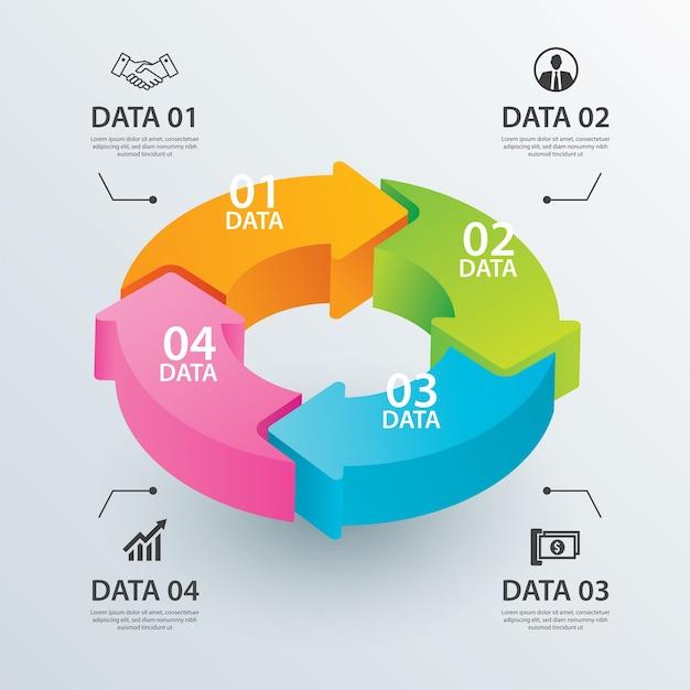 4つのデータを持つビジネスサークルの矢印インフォグラフィックテンプレート。