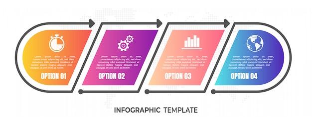 現代のタイムラインのインフォグラフィック4つのオプション。