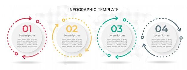 モダンサークルタイムラインインフォグラフィックテンプレート4オプション。