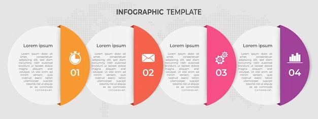 モダンなサークルタイムラインインフォグラフィックテンプレート4オプション。