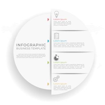 プレゼンテーションインフォグラフィックテンプレート4オプション。サークルデザイン。