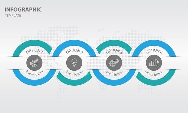 抽象的なタイムラインインフォグラフィック4オプション