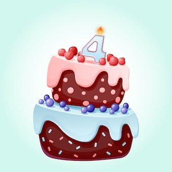 Милый мультфильм 4 года рождения праздничный торт со свечой номер четыре. шоколадное печенье с ягодами, вишней и черникой