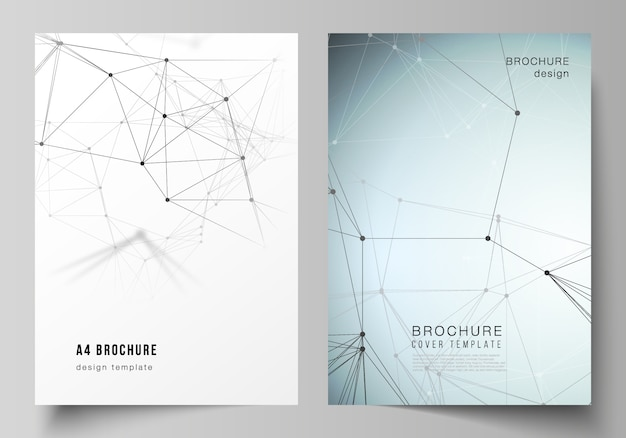 Векторный макет шаблонов дизайна обложки формата а4 для брошюры.