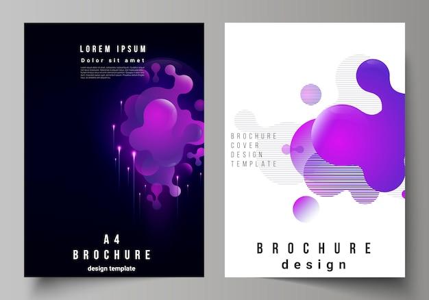 Векторный макет формата а4, современные шаблоны обложек для брошюры