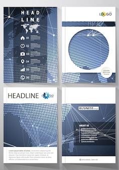 Иллюстрация редактируемого макета четырех обложек формата а4 с шаблонами дизайна круга