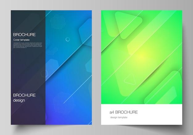 Макет формата а4, современные обложки, шаблоны оформления для брошюры, журнала, флаера, буклета. футуристический дизайн технологии, красочные фоны с жидким составом форм градиента.