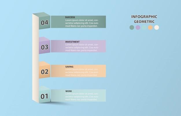 インフォグラフィック4キューブは、ビジネスコンセプトの柱グラフのように見えます。青い色の背景。