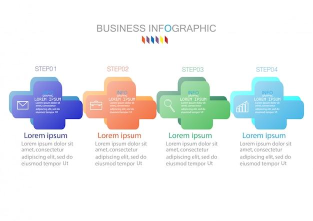 4つのステップまたはオプションプロセス図のインフォグラフィックテンプレート