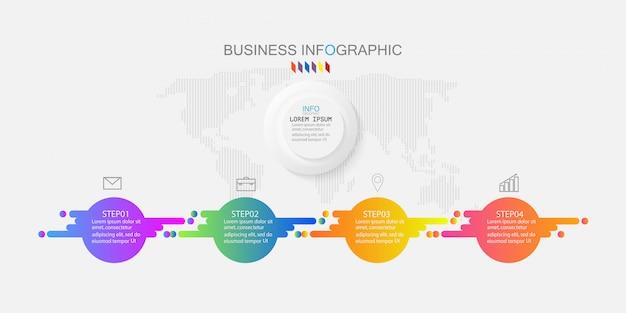 ベクターインフォグラフィックチャート、4つのオプションを持つビジネスコンセプト。