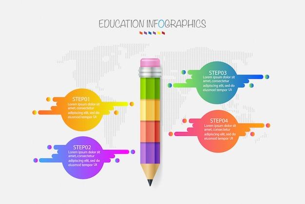 教育鉛筆インフォグラフィックステップ4オプション。ベクトルイラスト