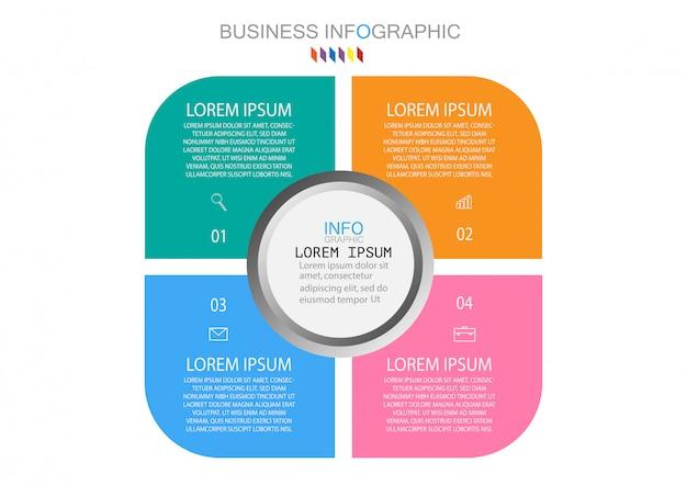 ビジネスインフォグラフィックテンプレートのコンセプトは、フルカラーのサークル4オプションステップです。