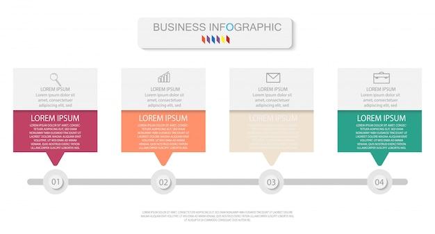 線形アイコン、オプション、またはプロセスを持つ4つのカラフルな要素。タイムラインに使用できます