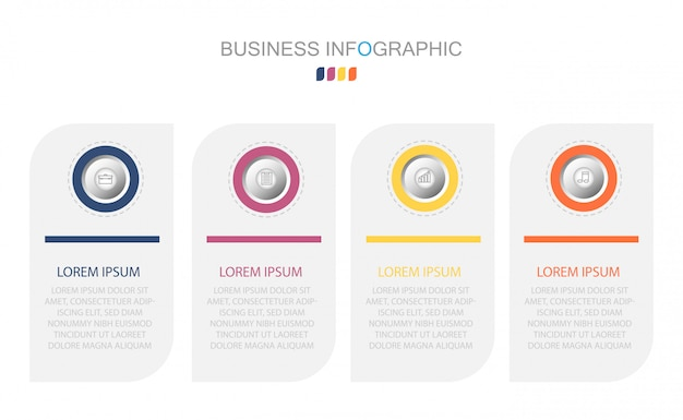 4つのオプション、ステップまたはプロセスのビジネスコンセプト