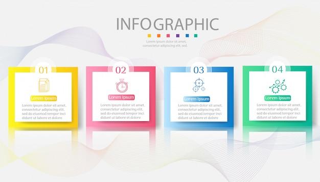 Дизайн бизнес шаблон 4 варианта инфографики элемент диаграммы.