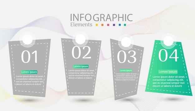 デザインビジネステンプレート4オプションインフォグラフィックグラフ要素。