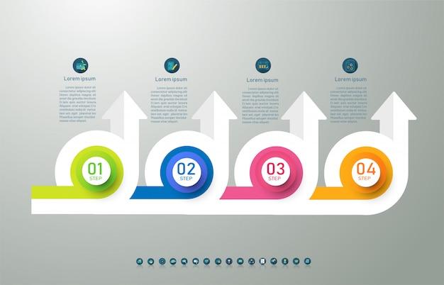 デザインビジネステンプレート4オプションまたは手順インフォグラフィックグラフ要素。