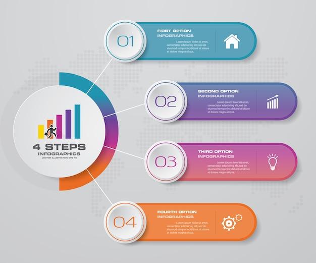 4 этапа обрабатывают элемент инфографики для презентации.