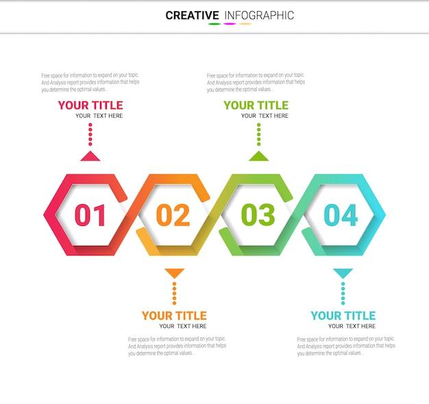 Шаблон вариантов шаблонов для инфографики с шагами с 4 ярлыками.