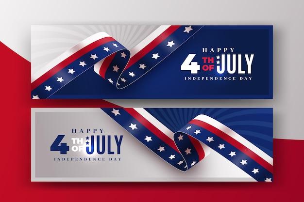 Реалистичные баннеры 4 июля день независимости