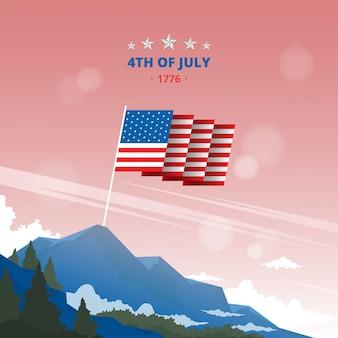Иллюстрация флаг поднят на вершине горы для празднования 4 июля