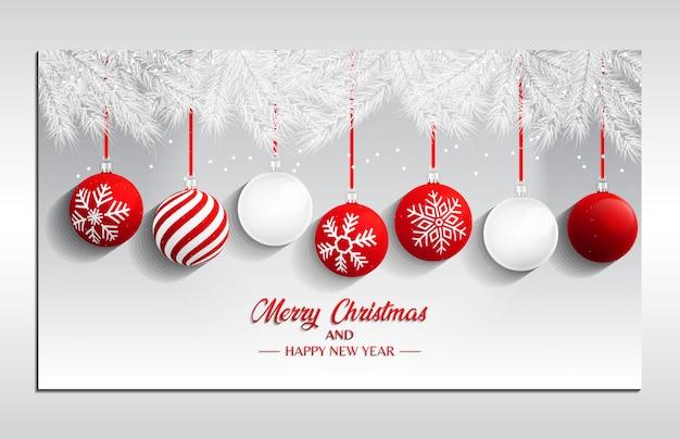 ランディングページ、バナー、チラシ、およびカバーのクリスマスボール背景4