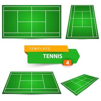4つのテニスコートテンプレート