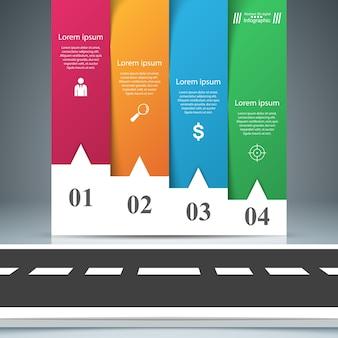 道路紙ビジネスインフォグラフィック。 4つの紙アイテム。