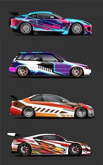 4パックデザインカーラップグラフィックビニールステッカー