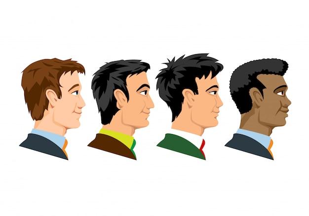 4種類の人種の男性の側面図。