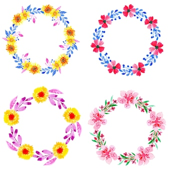 4つの花輪の水彩画