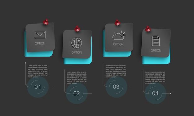 4つのオプションを持つインフォグラフィック