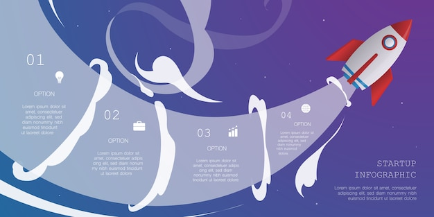 4つのオプションを持つロケットインフォグラフィック
