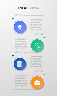4つのステップまたはオプションを備えたインフォグラフィック