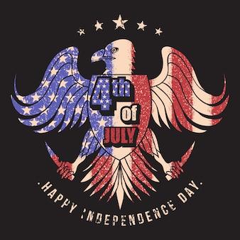 Орел флаг сша 4 июля векторная иллюстрация