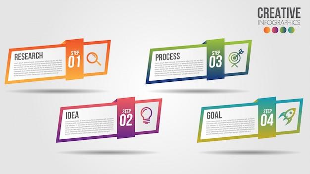 アイコンと4つの番号オプションまたは手順のビジネスインフォグラフィックタイムラインデザインテンプレート