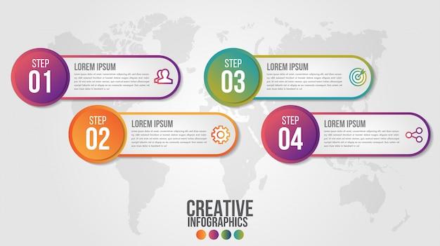 4つのステップを持つビジネスのためのインフォグラフィックモダンなタイムラインデザインテンプレート