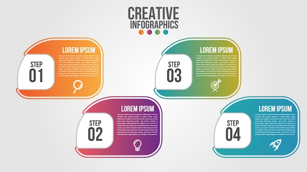 4つのステップまたはオプションのビジネスのためのインフォグラフィックモダンなタイムラインデザインベクトルテンプレート